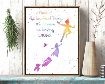 Peter Pan printable watercolor nursery wall art, playroom girl room Disney inspired printable, wall decor, Peter Pan quote instant download