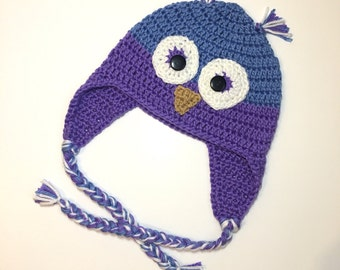 Crochet Owl Hat, made in the UK, made to order, choose your colours!