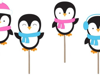 Gender reveal, gender reveal party, baby shower, baby shower cupcake Topper, cupcake toppers, penguin cupcake toppers, party supplies