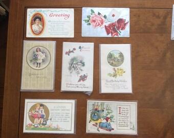 Vintage Antique Postcards | Vintage Cancelled Postage | Collage Supplies