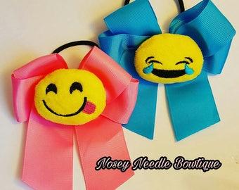 stuffed Emoji hair bow hair ties, emoji hair bow, Tongue emoji hair bow, Emoji hair tie, Laugh emoji , Emoji birthday party