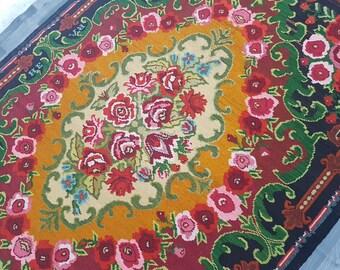 6.5x10 Super unique Floral Design Rug,Vintage Karabakh Kilim,Floral medallions,Multi-Color rug,Salon Rug,office rug--200 x 297 cm