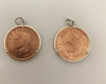 Handmade sterling silver coin frame pendants set with Australian half pennies