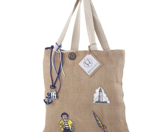 Patches-LAN bag jute, North Sea feeling, shoulder bag, shopper with patches