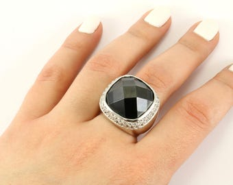 Vintage Large Cushion Hematite Crystal Ring 925 Sterling Silver RG 1486-E