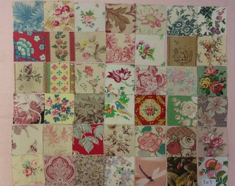 Set of 42 small coupons old fabrics for patchwork, ref 303