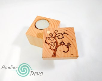 Birds in love, tree, square wooden candle holder with lid, tea light candle, sliding lid, natural oil finished, home, gift, woodburning