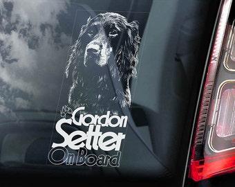 Gordon Setter on Board - Car Window Sticker - Dog Sign Decal -V01