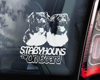 Stabyhouns on Board - Car Window Sticker - Stabyhoun Stabij Beike Dog Sign Decal - V03