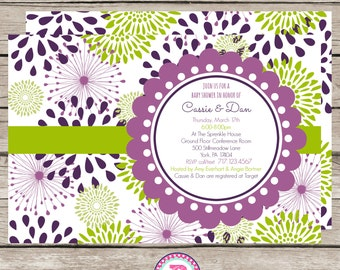 Baby Shower Invitation Purple Green Blossoms Spring Blooming Girl Flowers Digital File Only