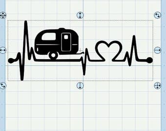 Camping Love EKG SVG