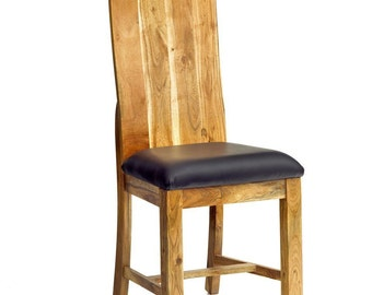Metro wooden vintage dining chair - Leather padding - Chunky design