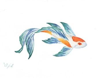 ORIGINAL WATERCOLOR PAINTING, koi, oriental painting, beta, fish, watercolor fish, original painting, koi fish,  feng shui, restaurant
