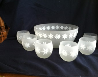 Snowflake Punch Bowl and cups