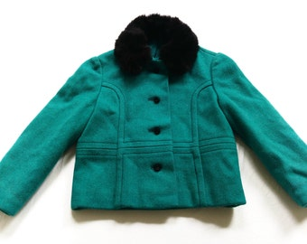 Wool jacket fur ChilDren 6-7Y retro VinTage 60s 70s kids 60s 70s wool jacket