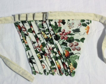 Flower and Leaves Fabric Bunting, Garland, Double Sided Bunting, kitchen decor, leaves, bunting flags, ready to ship