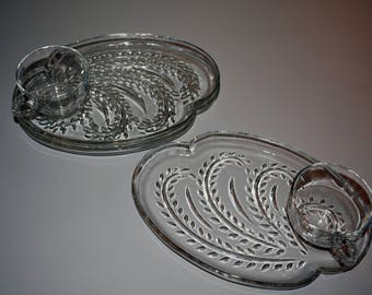 Homestead federal glass snack tray and cup set of 2