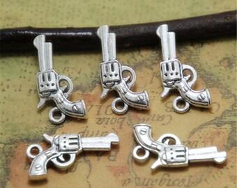 25pcs Gun Charms silver tone handguns Pistols Guns Charms Pendants 19x14mm ASD0288