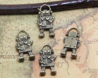 20pcs Robot Charms Bronze Tone Mini Robot charm pendant 3D 17x10mm ASD0347B
