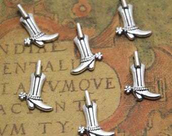 40pcs boots charm Silver tone  sided mini boots pendants charms 16x12mm ASD1792