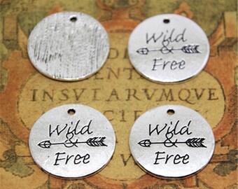 4pcs message Wild Free charms silver tone Wild Free Arrow charm pendant 24mm ASD2412