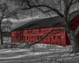 Old Red Barn Print Antique Farm Winter Scene Metal