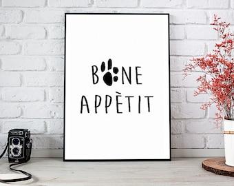 Bone Appetit, Printable Art, Printable Decor, Instant Download Digital Print, Motivational Art, Home Decor, Wall Art Prints