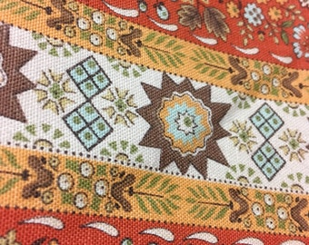 "Vintage Waverly Bonded ""Sturbridge"" Fabric - 48"" Orange Background"