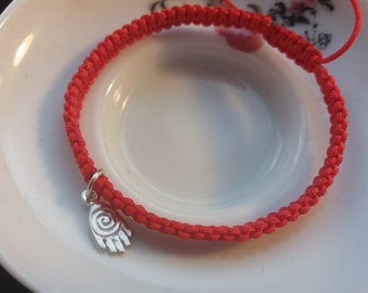 Chinese Red String Bracelet with a Buddha Hand 925S Sterling Silver Bead