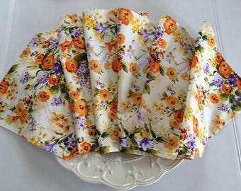 "Floral Table Runner Orange Poppies 12"" x 36""- 72"""
