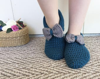 Navy Blue, Hand Knitted Slippers with Gray Ribbons, Winter Socks, House Shoes, Turkish Patik