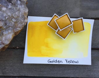 Golden Yellow. Half pan, full pan or bottle cap of handmade Golden Yellow watercolor paint