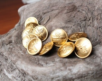 Set of 11 buttons.USSR Military buttons wings and propeller.Soviet buttons.Russian buttons.Vintage gold buttons USSR.Army gold color buttons