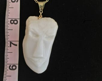 White Marble Rockhead Pendant Necklace