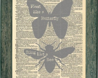 Muhammad Ali quote print artwork. Float like a butterfly, sting like a bee. Motivational quote Vintage print