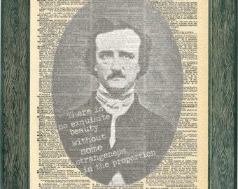 Edgar Allen Poe Poetry Print Quote. Exquisite Beauty Quote. Old book Poe Poetic art. Vintage Prints