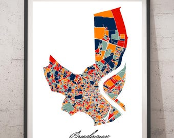 Poster A3, A2 card Bordeaux Multicolor Map - City map, city Poster, wall Decoration, city map, printing of Art