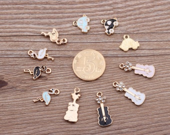 10pcs Crystal Violin Oil Charms Fiddle Pendant , Oil Cars Pendant,Animal Flamigo Charm for Bracelet Necklace Pendant DIY Accessories