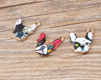 10Pcs Handmade Animal Bulldog Jewelry Charms Gold Tone Enamel Fashion Bracelet Necklace Pendants, Oil Drop Bulldog Charms Diy Accessories
