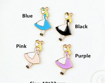 10Pcs Cute Fairy Tale Alice Princess Enamel Pendant Charms Gold Tone Oil Drop DIY Bracelet Necklace Floating Charms Accessories
