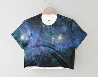 Galaxy Crop Top, Space Crop Top, Galaxy print top, galaxy print shirt, galaxy shirt, galaxy top,space print top,space print shirt,yoga shirt