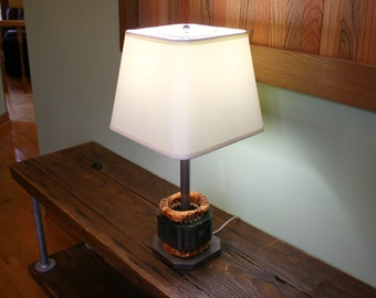 Industrial Style Lamp - Upcycled Lamp - Free Shipping