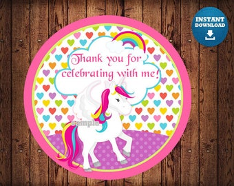 Instant Download Unicorn Circle Tags , Printable Party Tags, Printable Supplies,  Party Supplies