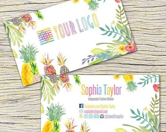 Pineapple Business Cards, Fast Free Personalization and Change, Digital Business Cards,Home Office Business Card,Mandala Business card