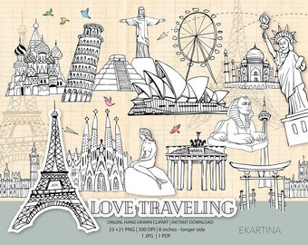 Travel doodle ClipArt,famous places Clipart,Hand drawn,wonderlust Clip art,world travel icons,Adwenture digital illustration,vacantion