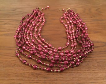 Multi-layered vintage beaded necklace c. 1940s
