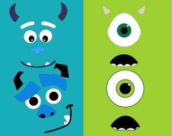 Monsters face SVG Clipart Cut Files Silhouette Cameo Svg for Cricut and Vinyl File cutting Digital cuts file DXF Png Pdf Eps vector clip art