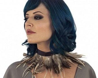 Night Owl - Natural Feather Choker - CH-NIGHTOWL--N