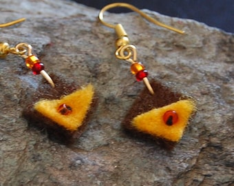 Boiled wool yellow triangle earrings