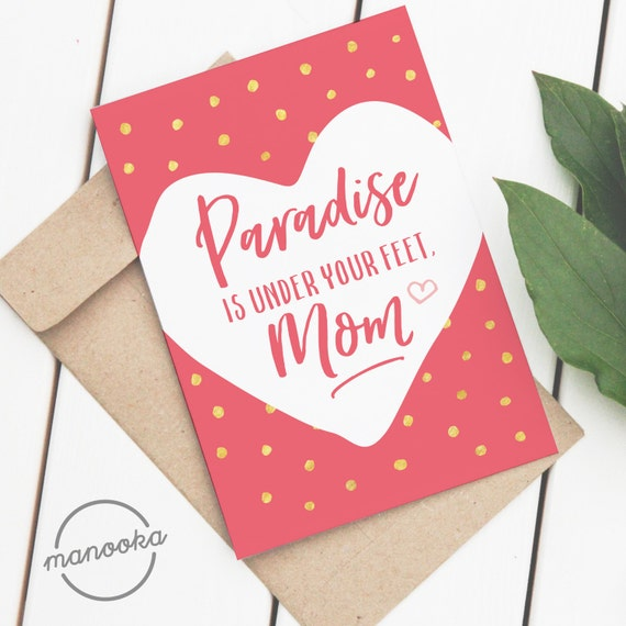 Mother\'s Day Card Islamic Printable Cute A2 sized card on